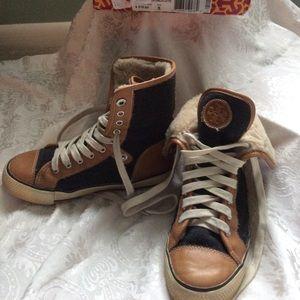 Tory Burch High-Top Shearling Sneakers